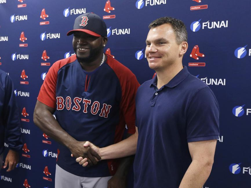 David Ortiz and GM Ben Cherington shake after a deal that likely means the DH will end his career in Boston.